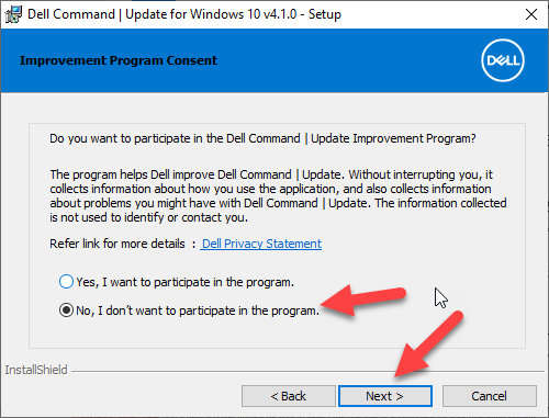 Dell Command Update Install Window 5