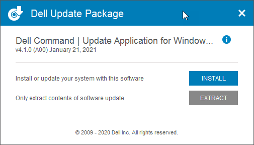 Dell Command Update Install Window
