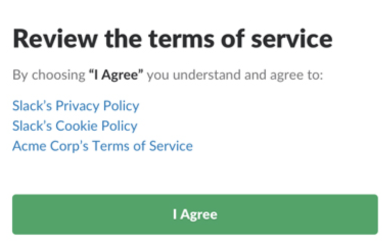 slack terms of service i agree button